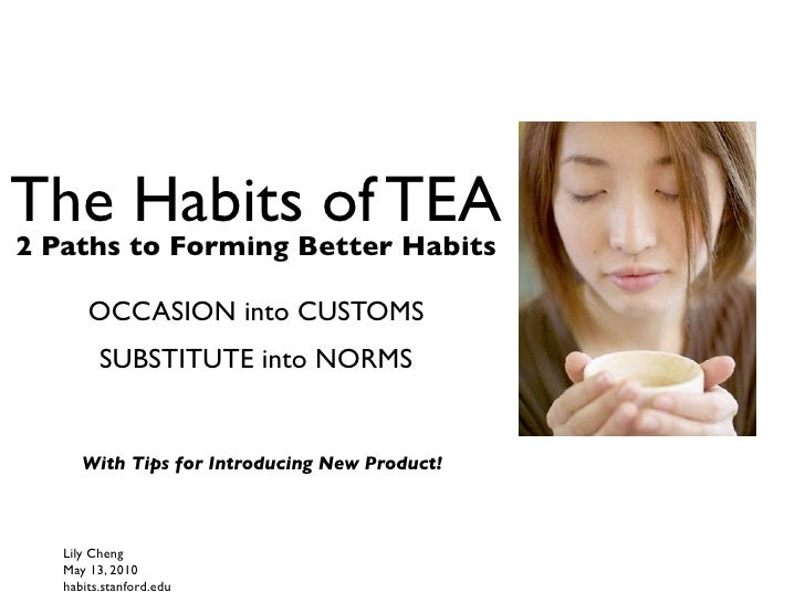 The Habits of TEA 2 Paths to Forming Better Habits         OCCASION into CUSTOMS          SUBSTITUTE into NORMS         Wi...