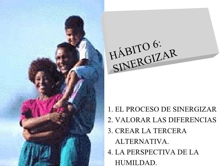 1. EL PROCESO DE SINERGIZAR 2. VALORAR LAS DIFERENCIAS 3. CREAR LA TERCERA  ALTERNATIVA. 4. LA PERSPECTIVA DE LA  HUMILDAD...