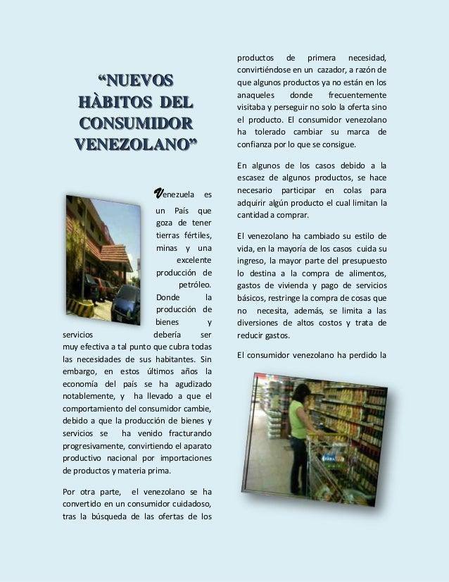 Habitos de consumidor venezolano