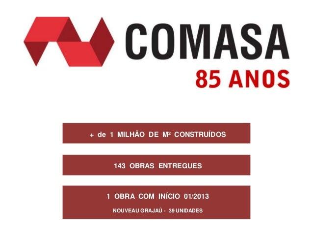 + de 1 MILHÃO DE M² CONSTRUÍDOS     143 OBRAS ENTREGUES   1 OBRA COM INÍCIO 01/2013     NOUVEAU GRAJAÚ - 39 UNIDADES