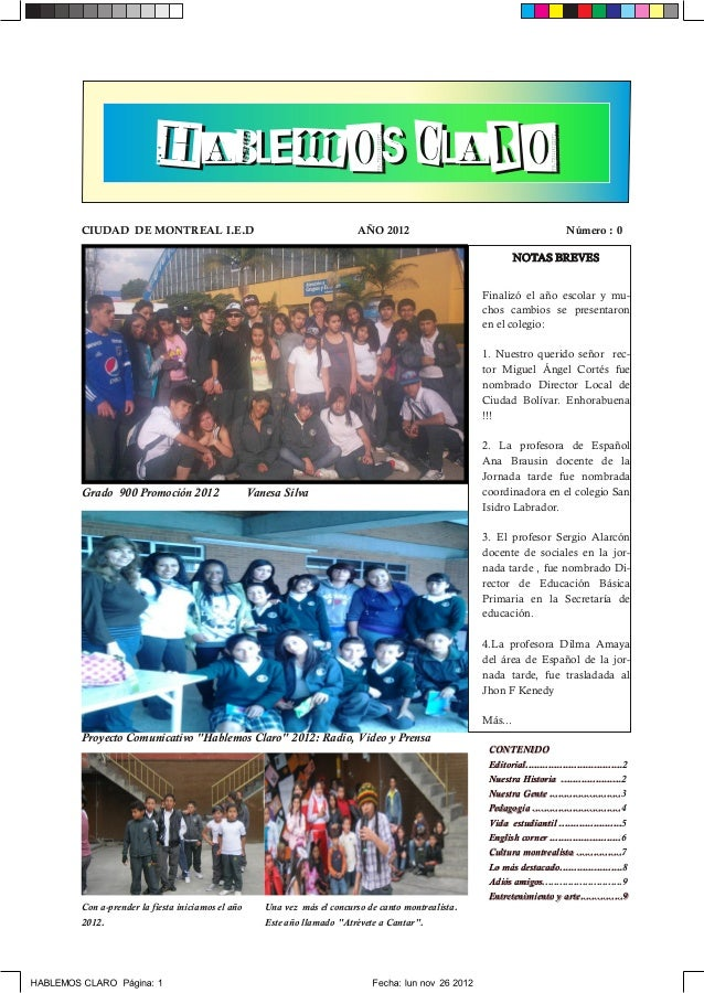 H A B L E M O S CL A R OCIUDAD DE MONTREAL I.E.D                                            AÑO 2012                      ...