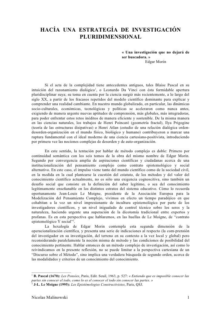 HACÍA UNA ESTRATEGÍA DE INVESTIGACIÓN                PLURIDIMENSIONAL                                                     ...