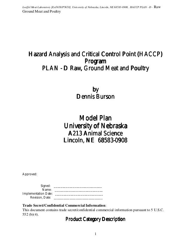 Loeffel Meat Laboratory [Est5658/P5658], University of Nebraska, Lincoln, NE 68583-0908, HACCP PLAN - D -  Raw  Ground Mea...