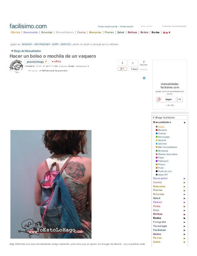 17/5/2014 Hacer un bolso o mochila de un vaquero   Aprender manualidades es facilisimo.com http://manualidades.facilisimo....