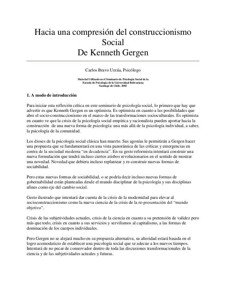 Hacia una compresión del construccionismo                     Social               De Kenneth Gergen                      ...
