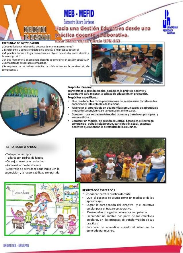 Hacia una gestion educativa desde la practica docente colaborativa.