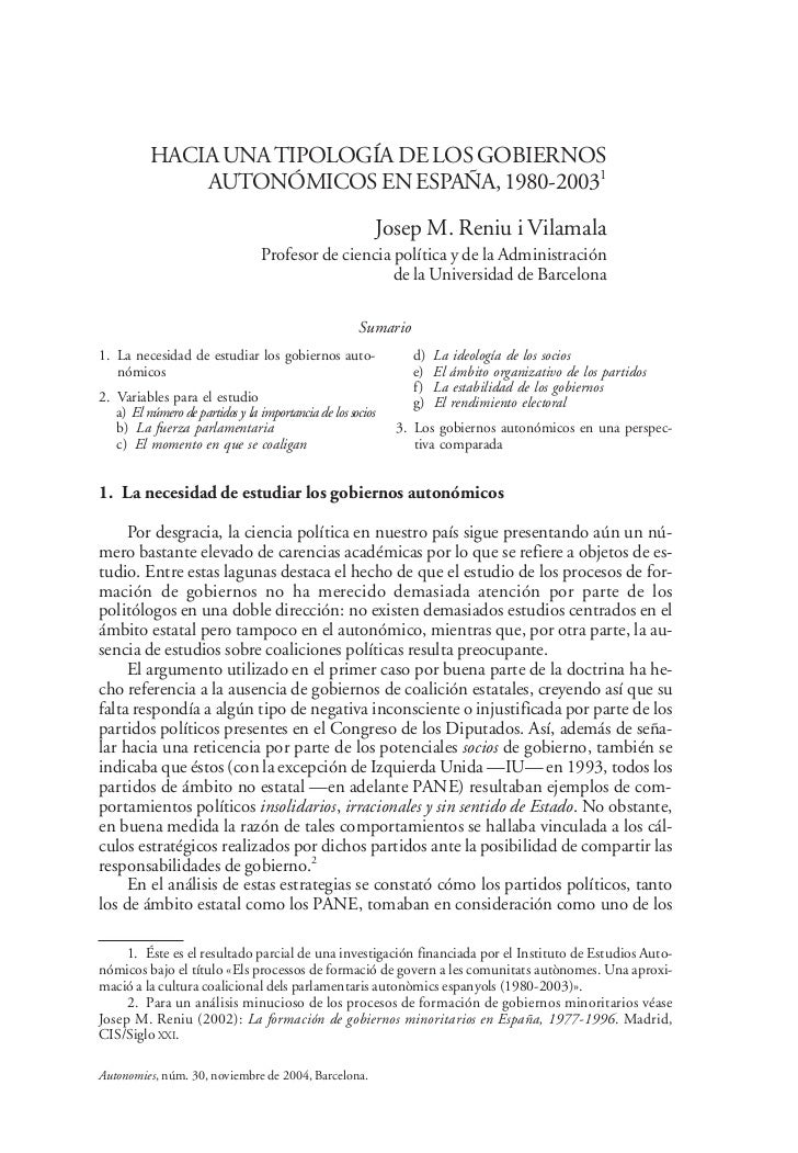 Hacia una tipología de los gobiernos autonómicos en España, 1980-2003