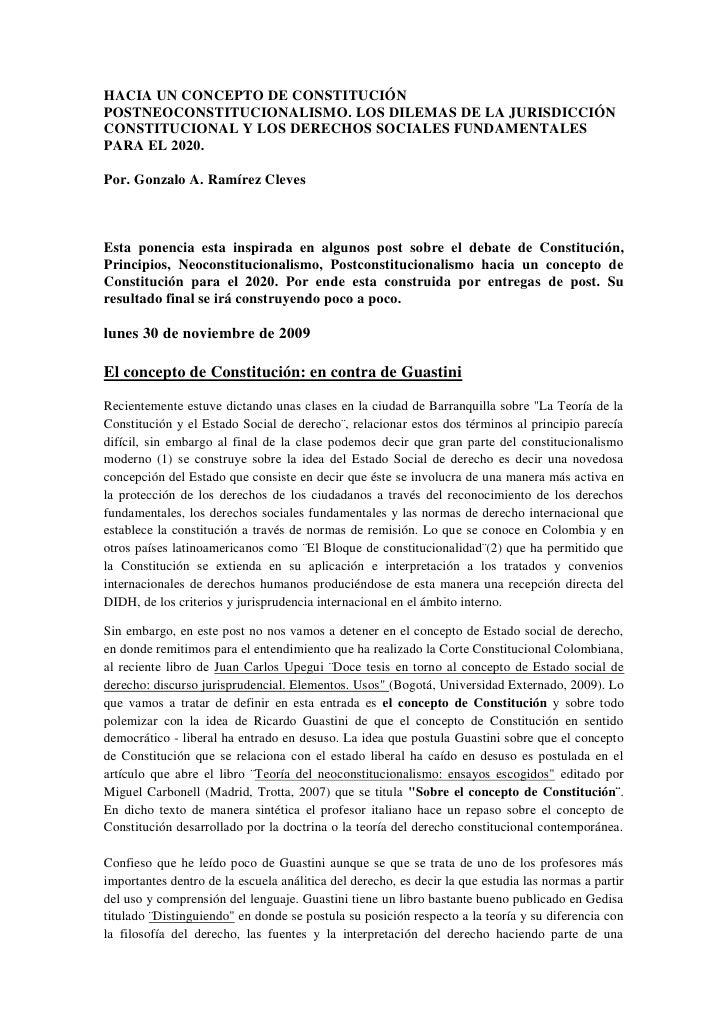HACIA UN CONCEPTO DE CONSTITUCIÓN POSTNEOCONSTITUCIONALISMO. LOS DILEMAS DE LA JURISDICCIÓN CONSTITUCIONAL Y LOS DERECHOS ...