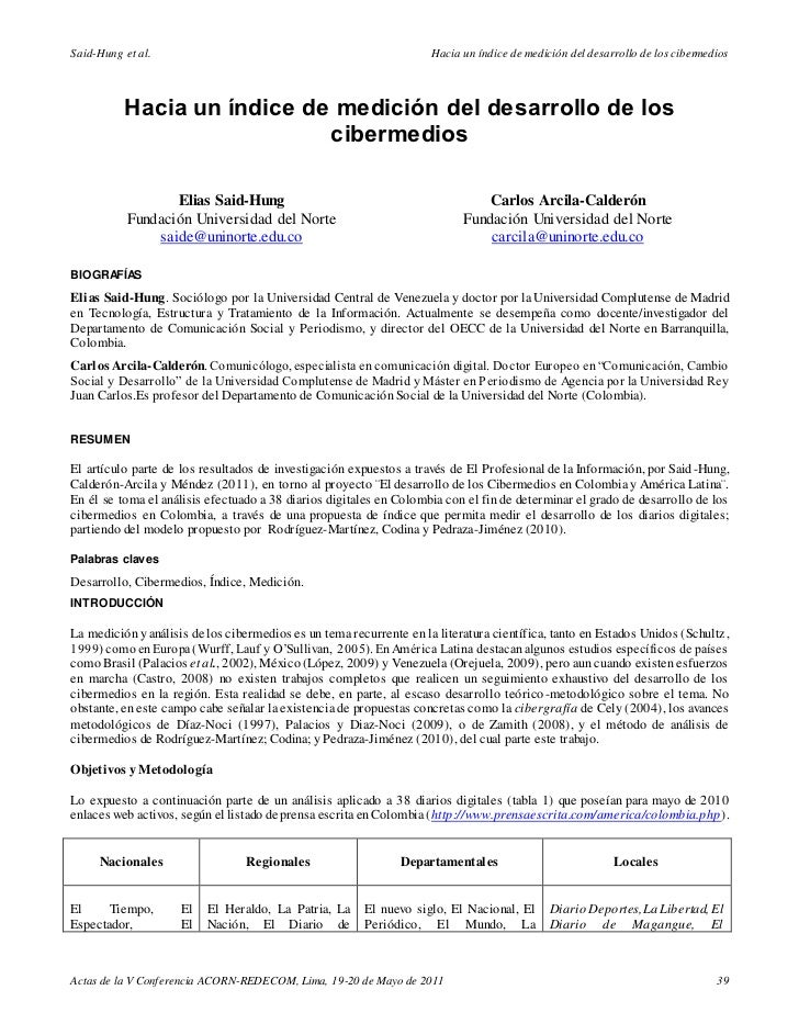 Hacia un índice de medición del desarrollo de los cibermedios - Elias Said-Hung (2011)