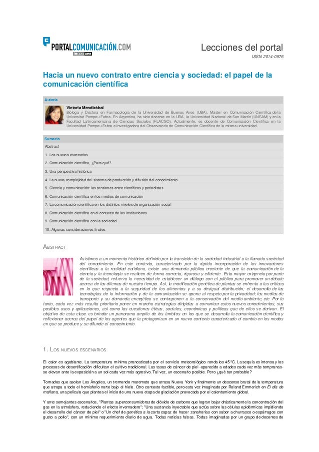 Hacia un nuevo contrato entre ciencia y sociedad: el papel de lacomunicación científica
