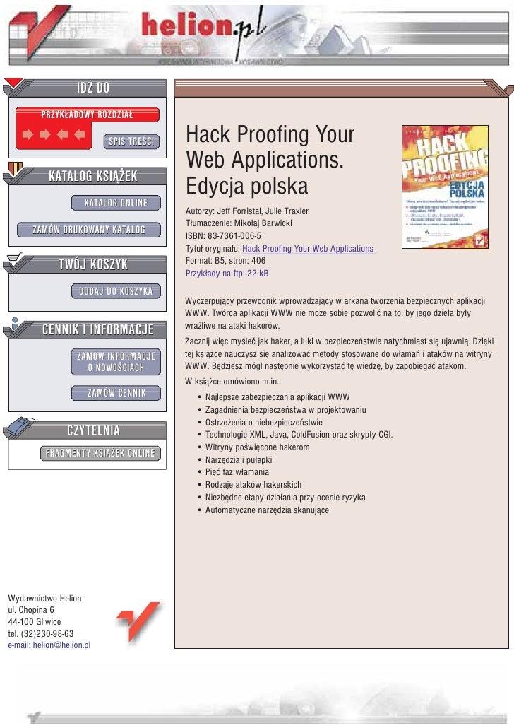 IDZ DO          PRZYK£ADOWY ROZDZIA£                             SPIS TRE CI   Hack Proofing Your                         ...