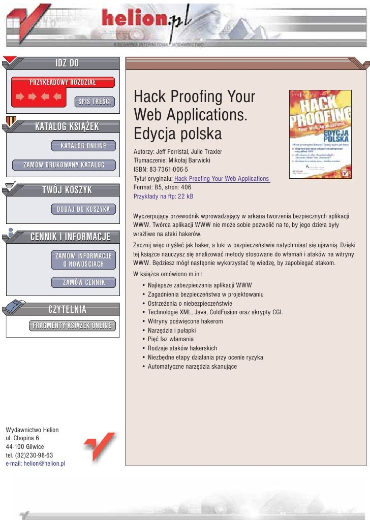Hack Proofing Your Web Applications. Edycja polska
