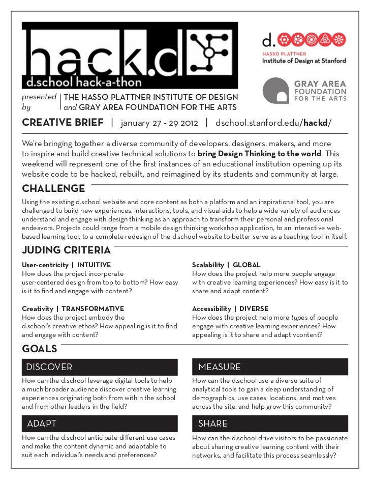 HACK.d Creative Brief 1/2012