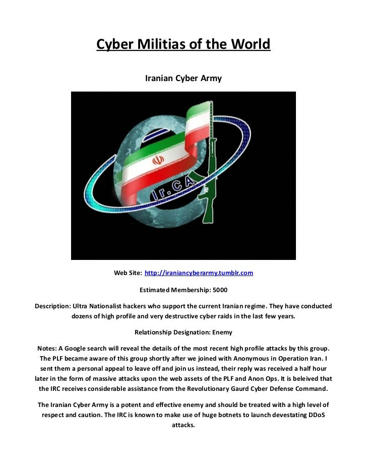 Cyber Militias of the World                                     Iranian Cyber Army                           Web Site: htt...