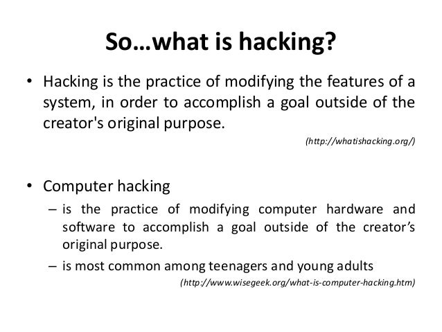 i introduction computer hacking is the practice This guide is an introduction to  everyone should have the opportunity to learn about computer security in  at the heart of the project lies the hacking.