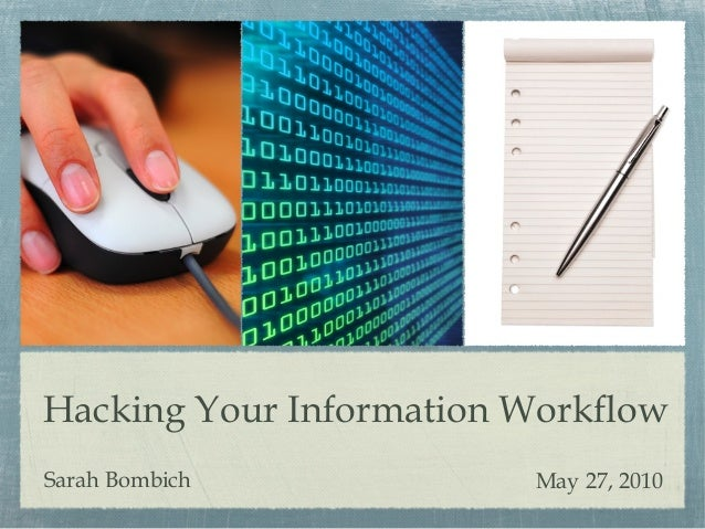 Hacking Your Information Workflow Sarah Bombich May 27, 2010