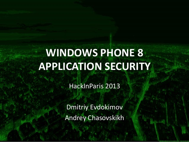 Windows Phone 8 application security