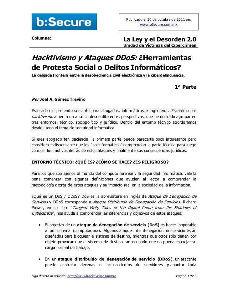 Hacktivismo y ataques DDoS: Herramientas de Protesta Social o Delitos Informáticos