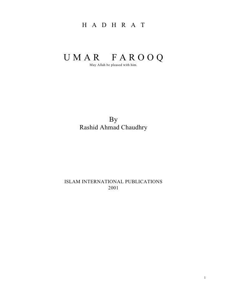 H A D H R A TUMAR                 FAROOQ        May Allah be pleased with him.                    By    Rashid Ahmad Chaud...