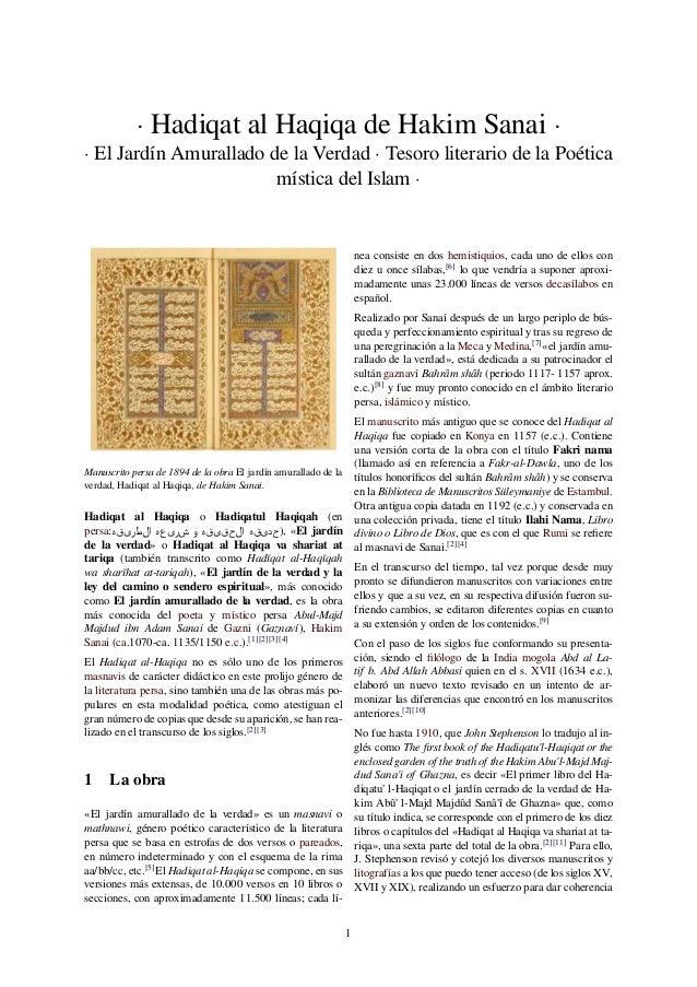 · Hadiqat al Haqiqa de Hakim Sanai ·  · El Jardín Amurallado de la Verdad · Tesoro literario de la Poética  mística del Is...