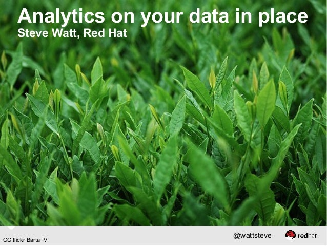 Analytics on your data in place Steve Watt, Red Hat  CC flickr Barta IV  @wattsteve