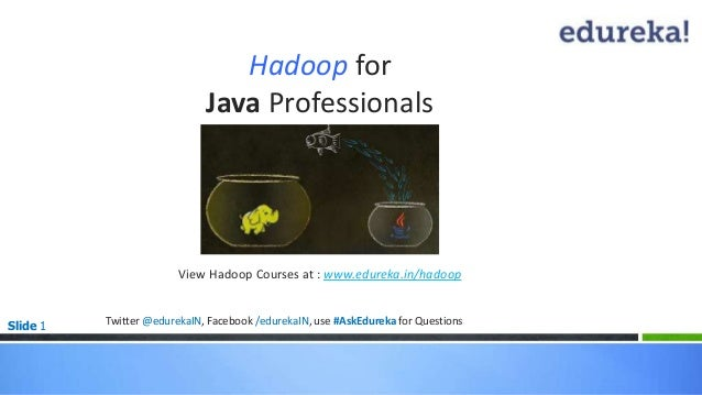 Slide 1 Hadoop for Java Professionals View Hadoop Courses at : www.edureka.in/hadoop * Twitter @edurekaIN, Facebook /edure...