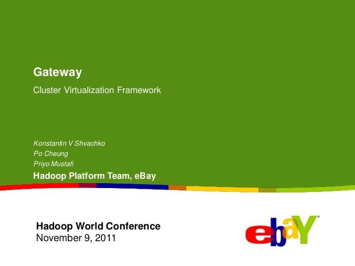 GatewayCluster Virtualization FrameworkKonstantin V ShvachkoPo CheungPriyo MustafiHadoop Platform Team, eBayHadoop World C...