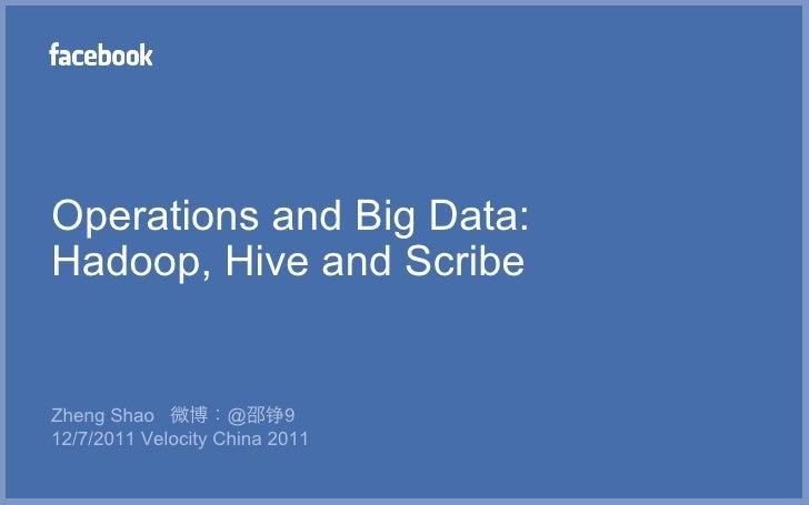 Operations and Big Data:Hadoop, Hive and ScribeZheng Shao 微博:@邵铮912/7/2011 Velocity China 2011