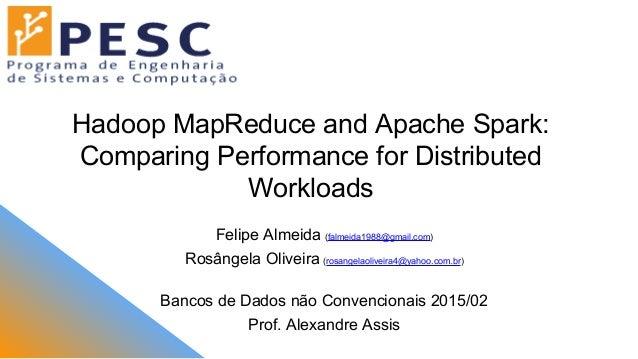 Hadoop MapReduce and Apache Spark: Comparing Performance for Distributed Workloads Felipe Almeida (falmeida1988@gmail.com)...