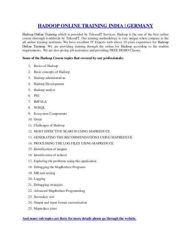 HADOOP ONLINE TRAINING INDIA | USA | UK | GERMANY | BRAZIL | AUSTRALIA