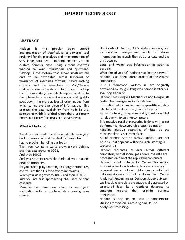 Hadoop technology doc