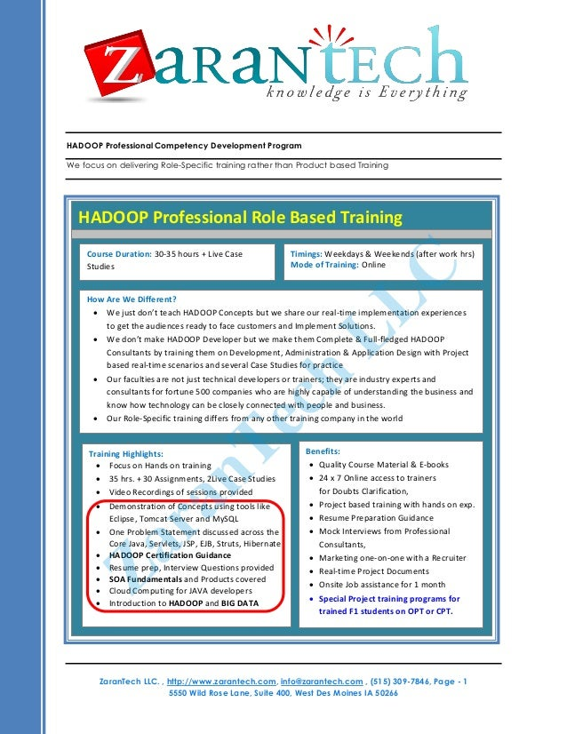 HADOOP Professional Competency Development Program We focus on delivering Role-Specific training rather than Product based...