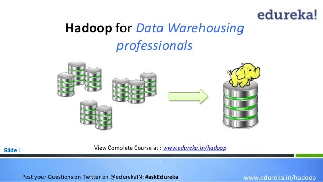 Slide 1 Hadoop for Data Warehousing professionals www.edureka.in/hadoop View Complete Course at : www.edureka.in/hadoop * ...