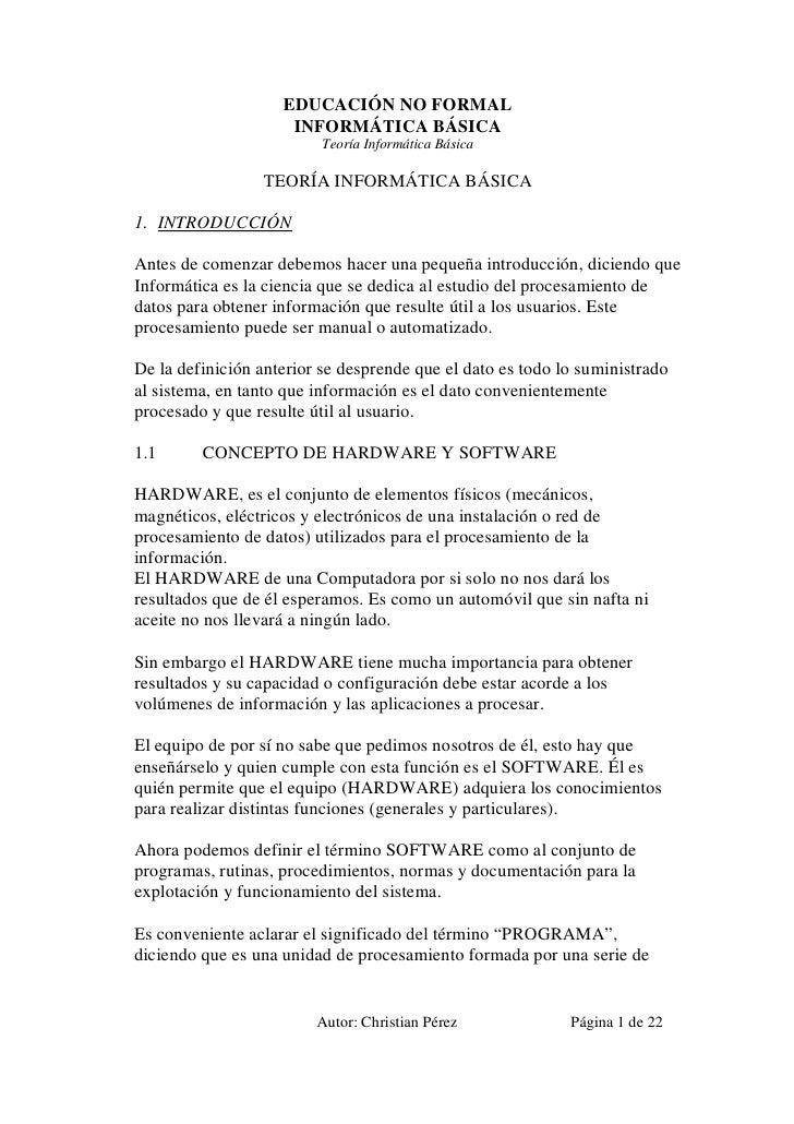 EDUCACIÓN NO FORMAL                     INFORMÁTICA BÁSICA                          Teoría Informática Básica             ...