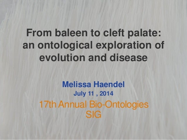 From baleen to cleft palate: an ontological exploration of evolution and disease Melissa Haendel July 11 , 2014 17th Annua...