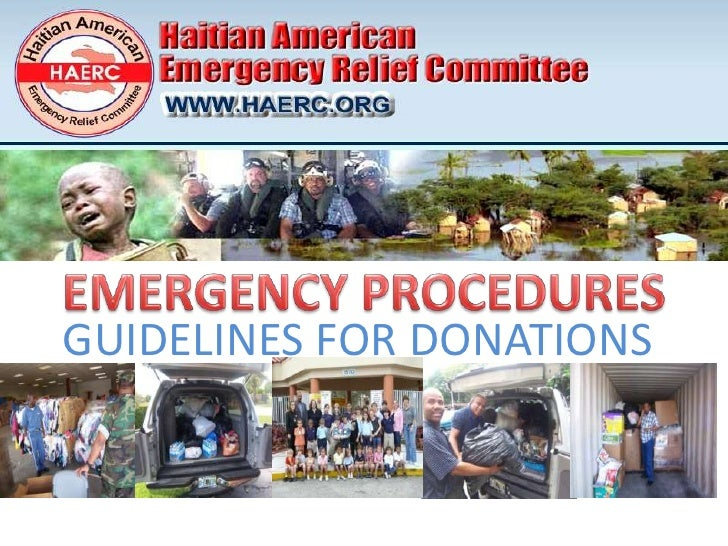 EMERGENCY PROCEDURES<br />GUIDELINES FOR DONATIONS<br />