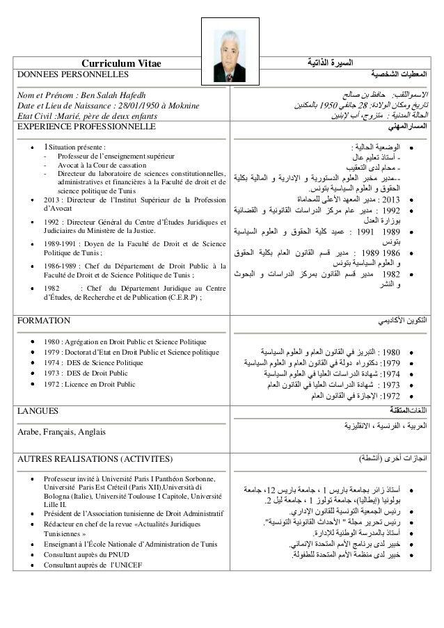 Curriculum Vitae DONNEES PERSONNELLES Nom et Prénom : Ben Salah Hafedh Date et Lieu de Naissance : 28/01/1950 à Moknine Et...