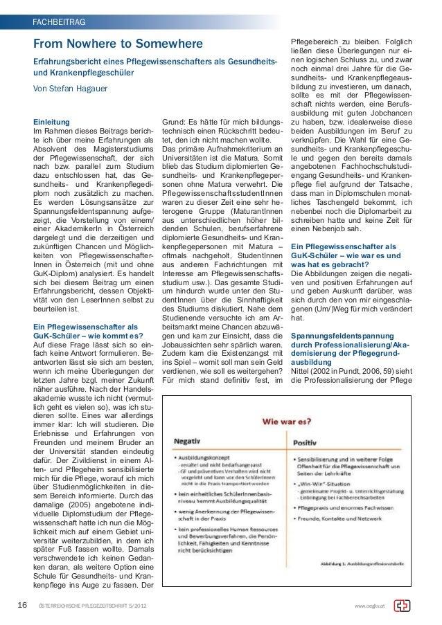 FACHBEITRAG  From Nowhere to Somewhere  Erfahrungsbericht eines Pflegewissenschafters als Gesundheits-und  Krankenpflegesc...