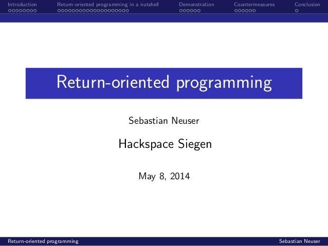 Return oriented programming