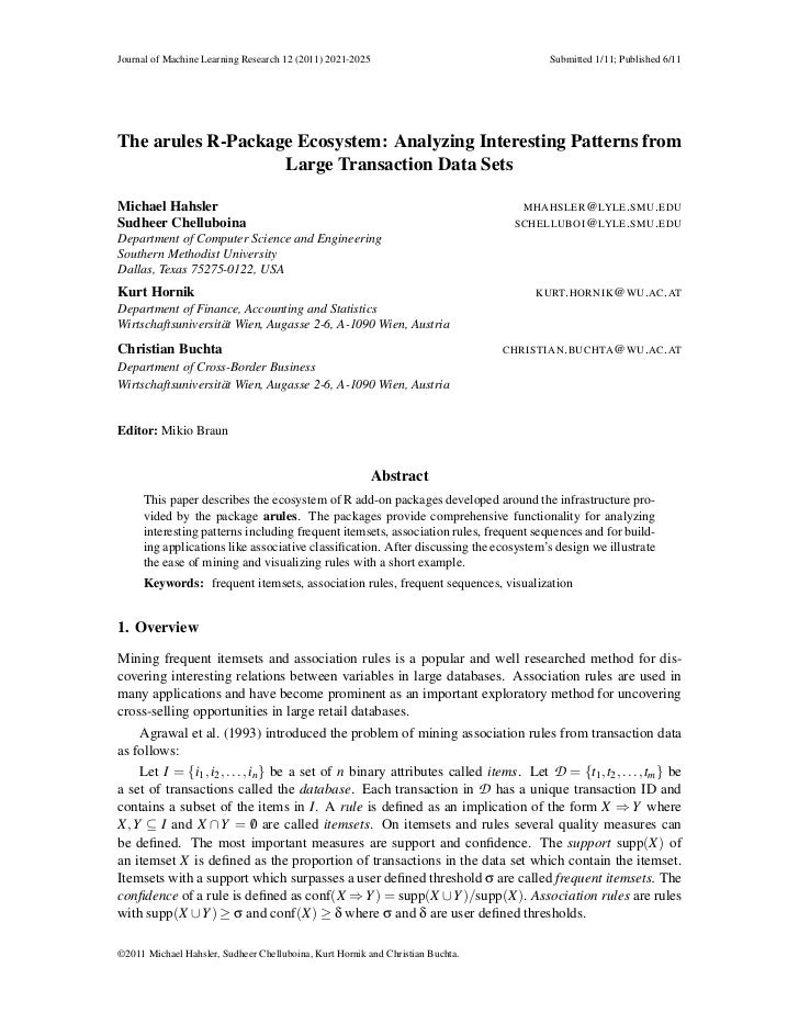Journal of Machine Learning Research 12 (2011) 2021-2025                                Submitted 1/11; Published 6/11The ...