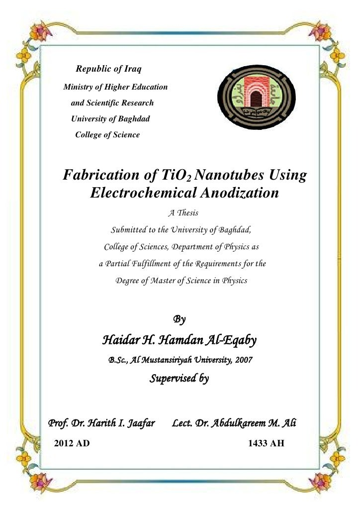 Fabrication of TiO2 Nanotubes Using Electrochemical Anodization      Republic of Iraq   Ministry of Higher Education     a...