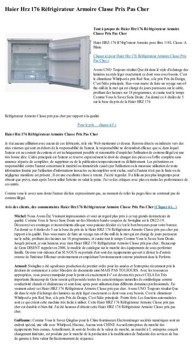 haier hrz 176 refrigerateur armoire classe prix pas cher. Black Bedroom Furniture Sets. Home Design Ideas