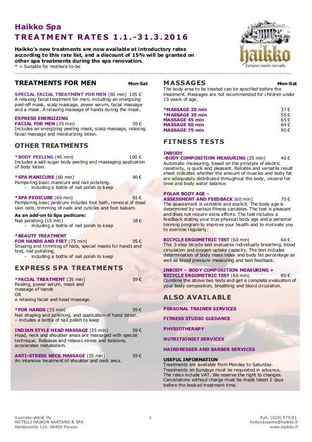 Haikko spa treatment price list 2015 for N gents salon karachi prices