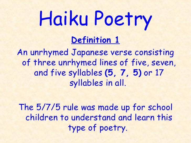 Haiku poetry ppt for Rule of three meaning