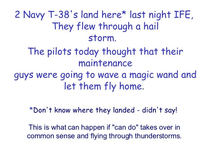 "* Don't know where they landed - didn't say!    This is what can happen if ""can do"" takes over in common sense a..."