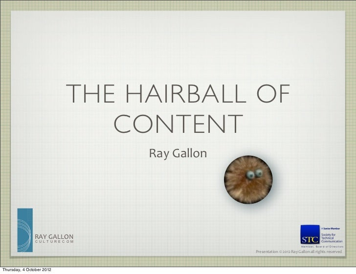THE HAIRBALL OF                                 CONTENT                                     Ray	  Gallon               RAY...