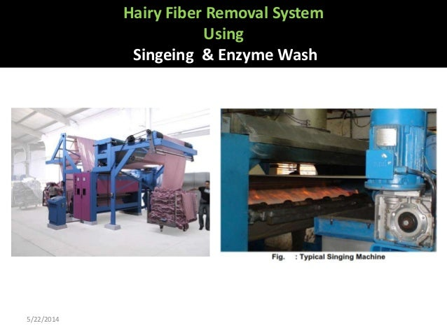 Hairy fibre removal system using singeing & enzyme wash