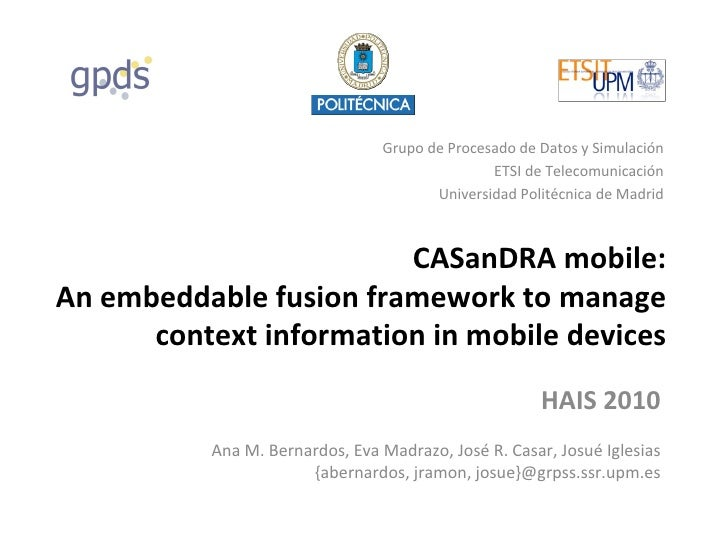 [HAIS'10] An embeddable fusion framework to manage context information in mobile devices