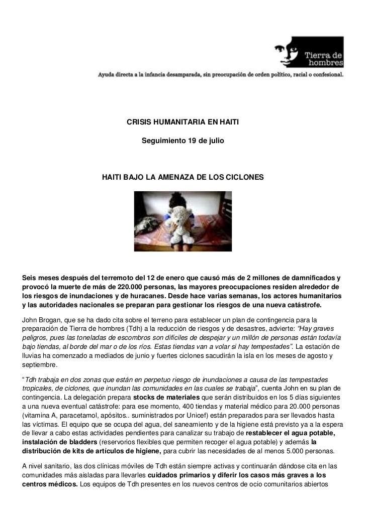 <br />CRISIS HUMANITARIA EN HAITI<br />Seguimiento 19 de julio <br />HAITI BAJO LA A...