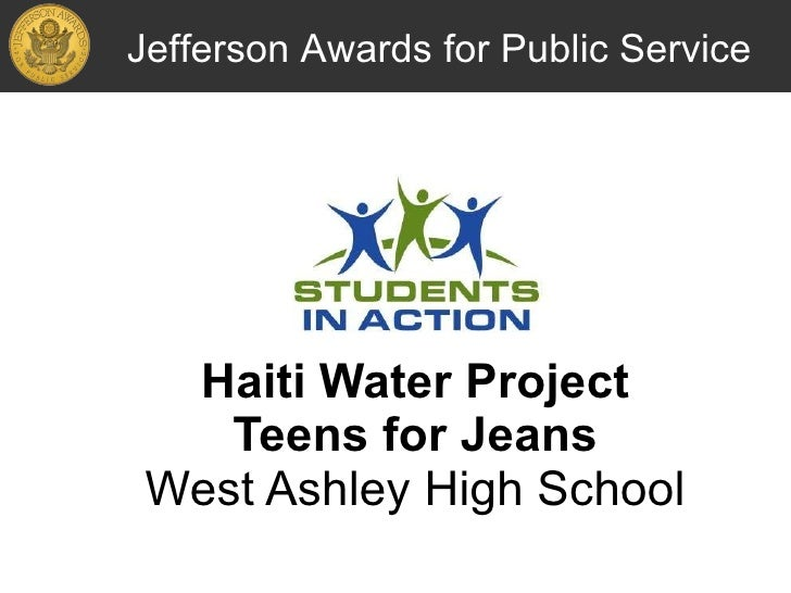 Haiti Water Project Teens for Jeans West Ashley High School